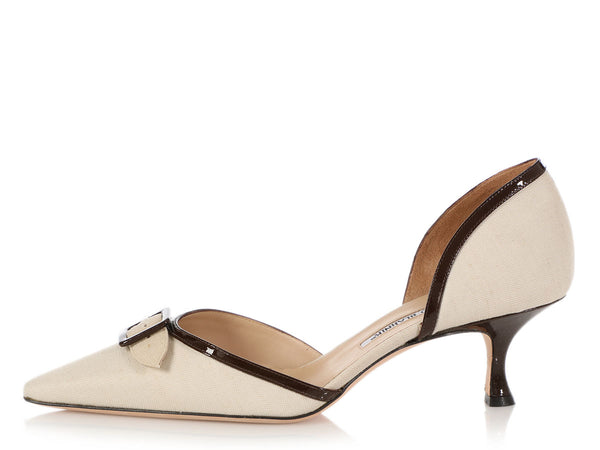 Manolo Blahnik Canvas d'Orsay Kitten Heel Pumps