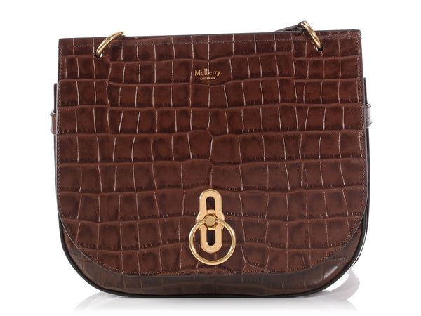 Mulberry Small Brown Croc Stamped Amberley