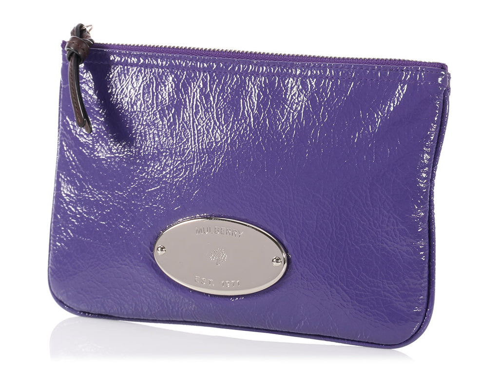 Mulberry Purple Patent Mitzy Zip Pouch