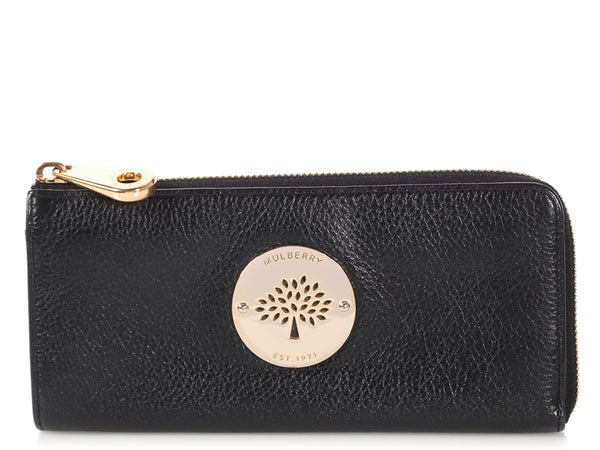Mulberry Black Long Zippy Wallet
