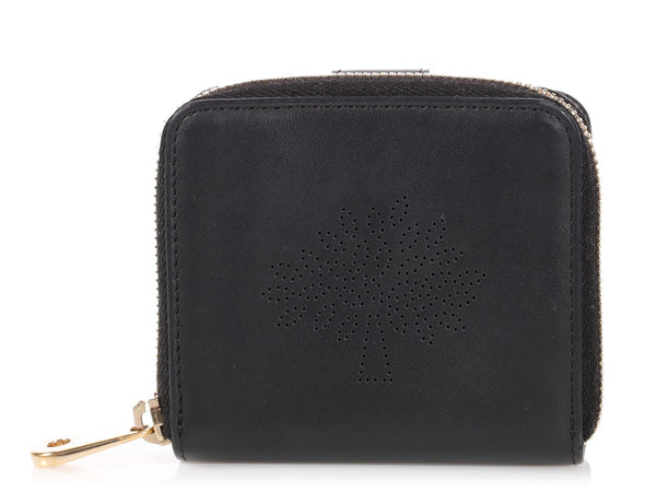 Mulberry Black Calfskin Blossom Zip Around Purse