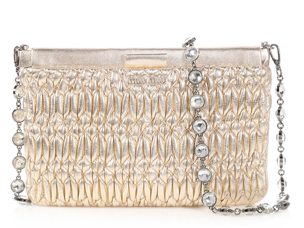 Miu Miu Gold Matelassé Crystal Strap Convertible Bag