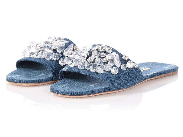 Miu Miu Denim Jewel Slides