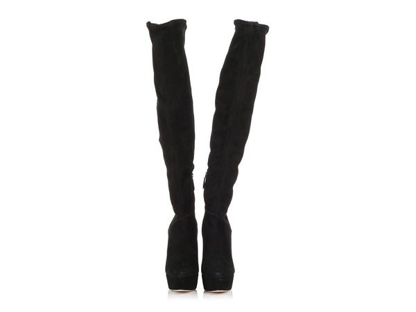 Miu Miu Black Suede Knee-High Boots