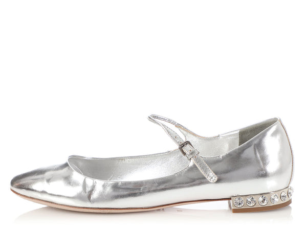 Miu Miu Silver Leather and Crystal Heel Mary Janes