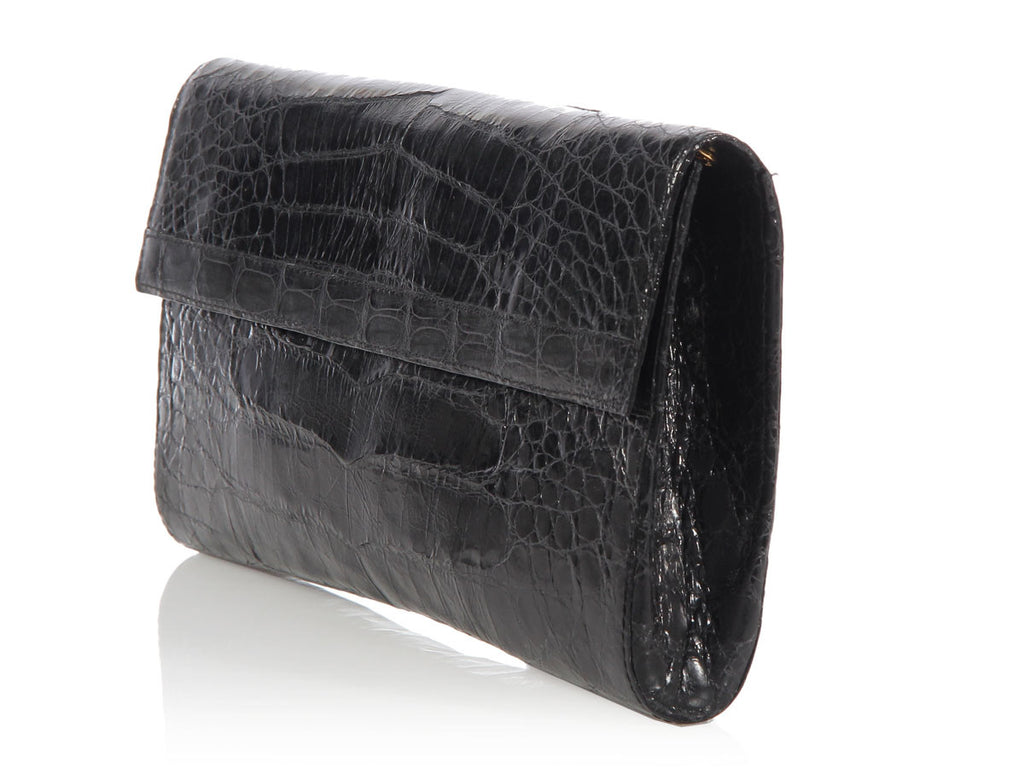Nancy Gonzalez Black Crocodile Clutch