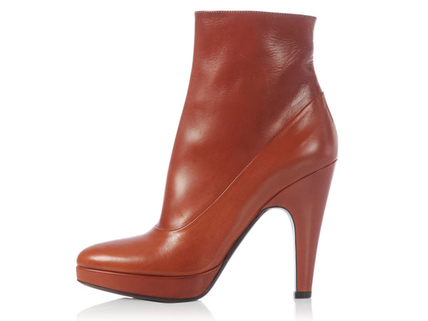 Prada Toasted Tobacco High-Heeled Booties