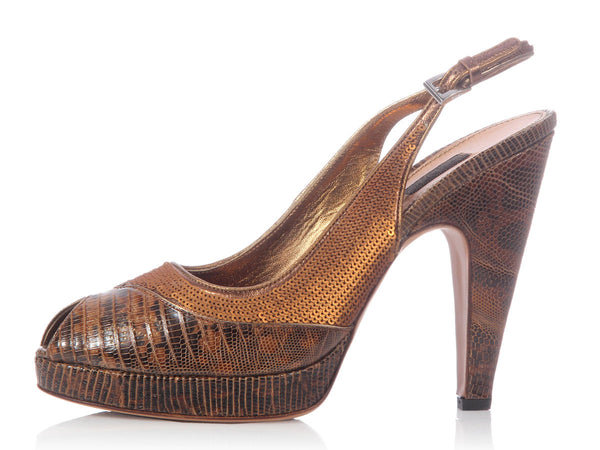 Prada Bronze Lizard Slingbacks