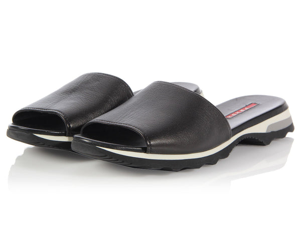 Prada Black Leather Slide Sandals