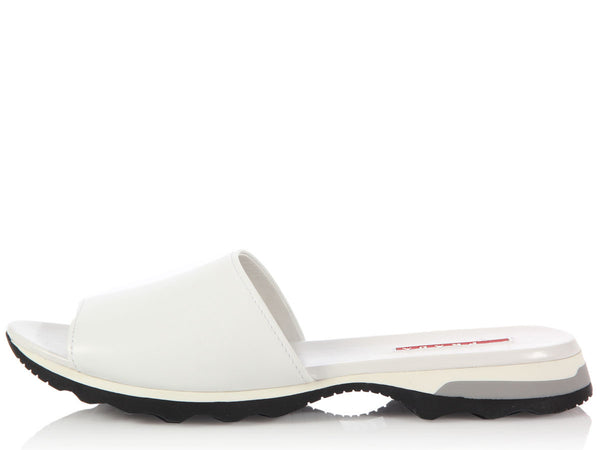 Prada White Leather Slide Sandals