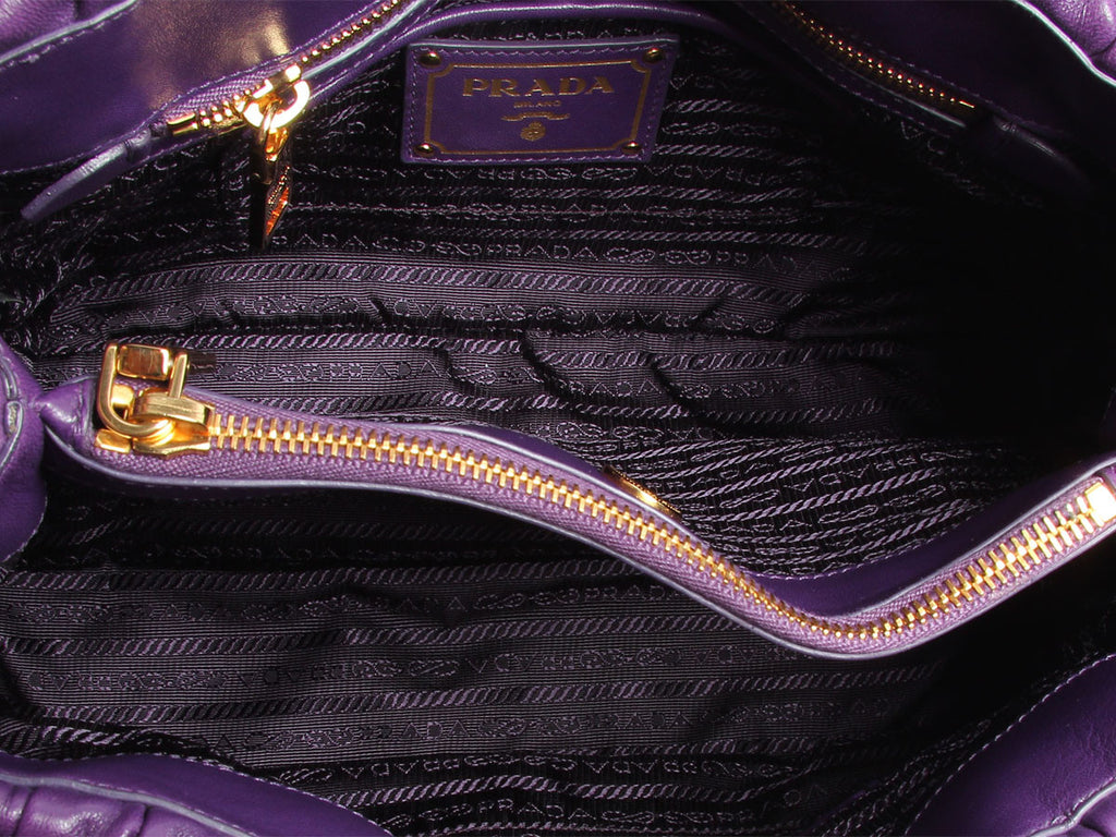 Prada Small Ruched Violet Tote