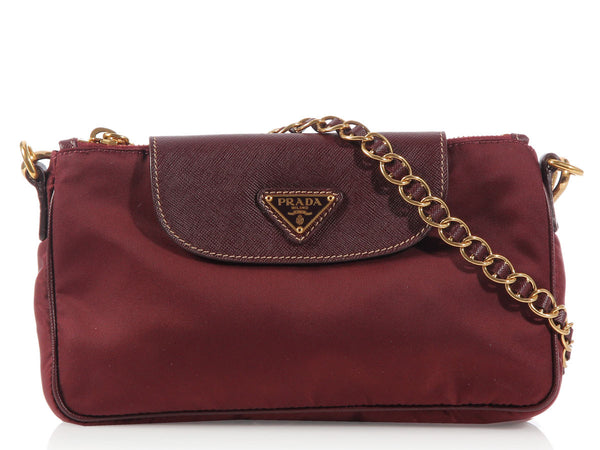 Prada Burgundy Nylon Shoulder Bag