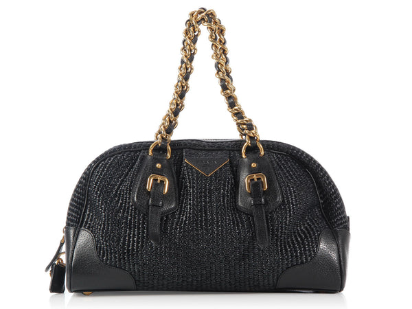 Prada Medium Black Raffia Bowler