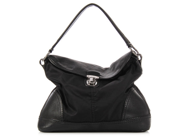 Prada Black Nylon Push Lock Flap