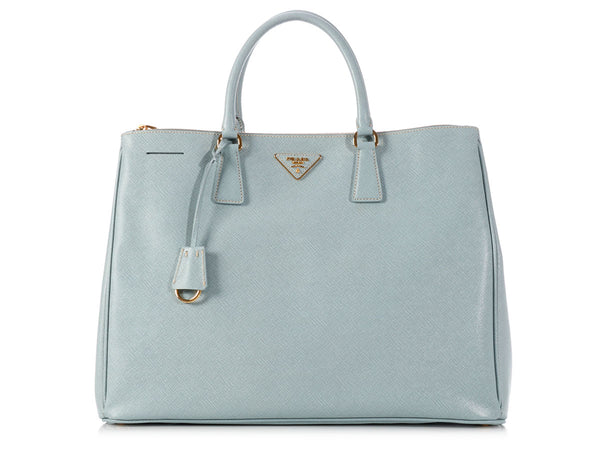 Prada Large Light Blue Saffiano Lux Shopping Tote