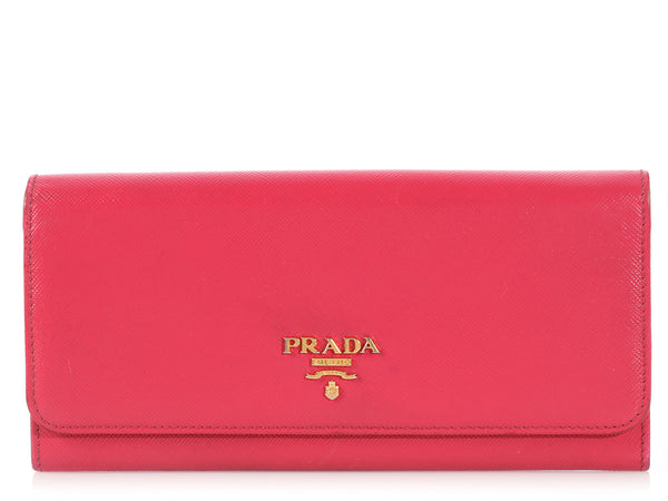 Prada Long Hot Pink Saffiano Wallet