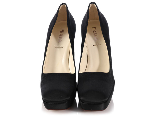 Prada Black Satin Platform Pumps