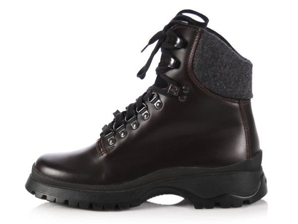 Prada Brown Leather Hiking Boots