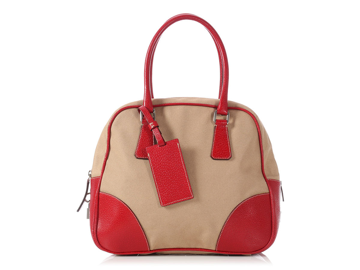 1389bd7f62f9 Prada Beige Canvas and Red Leather Bowling Bag - Ann's Fabulous Closeouts