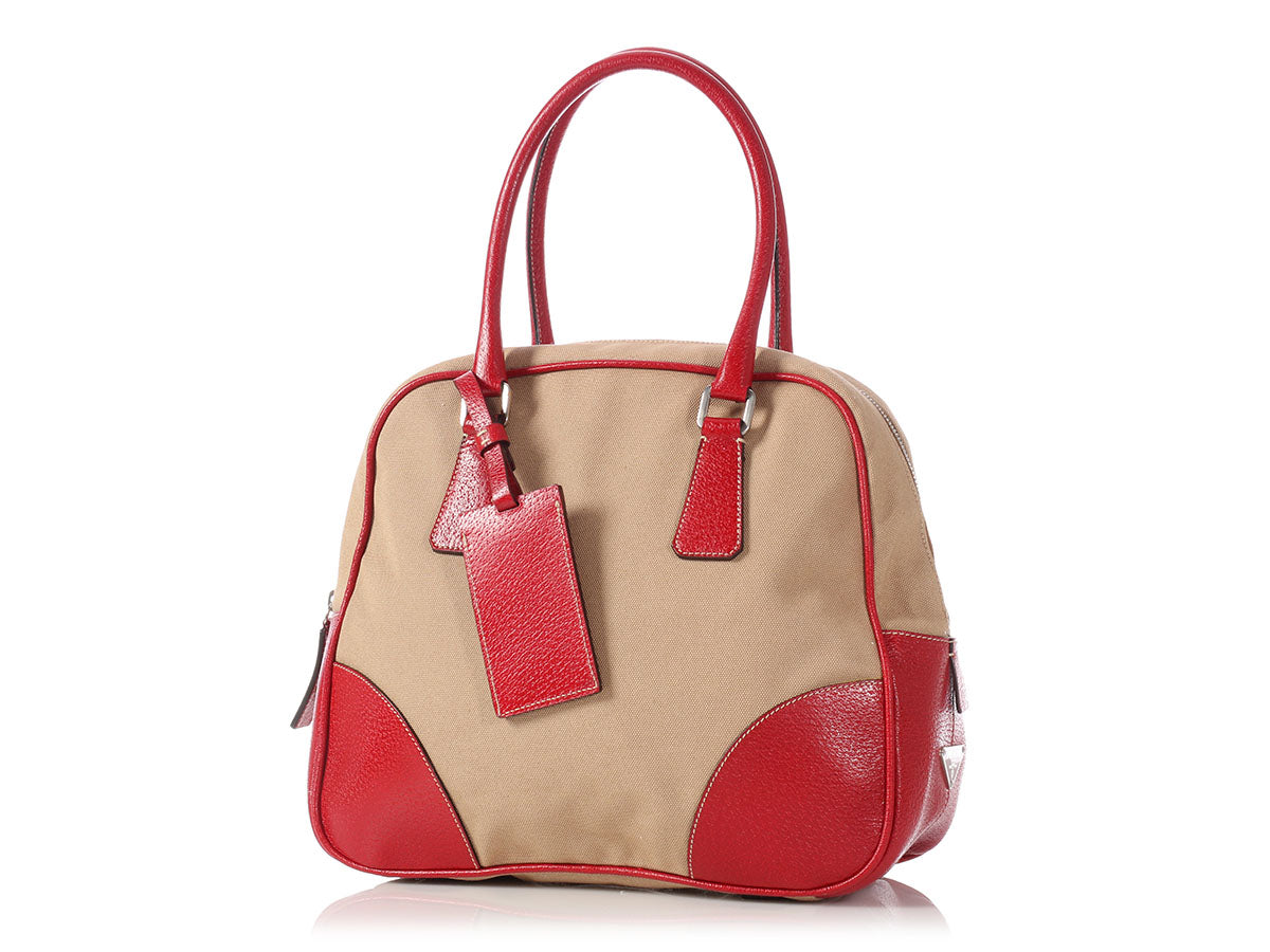 b415c4f8da75 Prada Beige Canvas and Red Leather Bowling Bag - Ann's Fabulous Closeouts