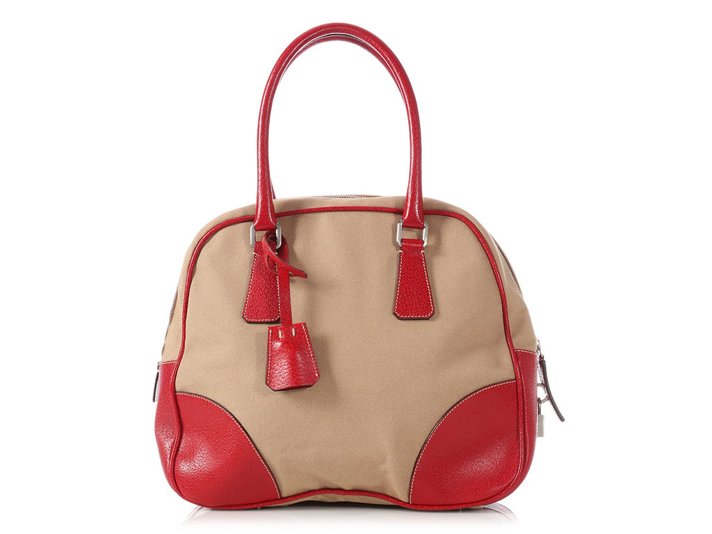 Prada Beige Canvas and Red Leather Bowling Bag
