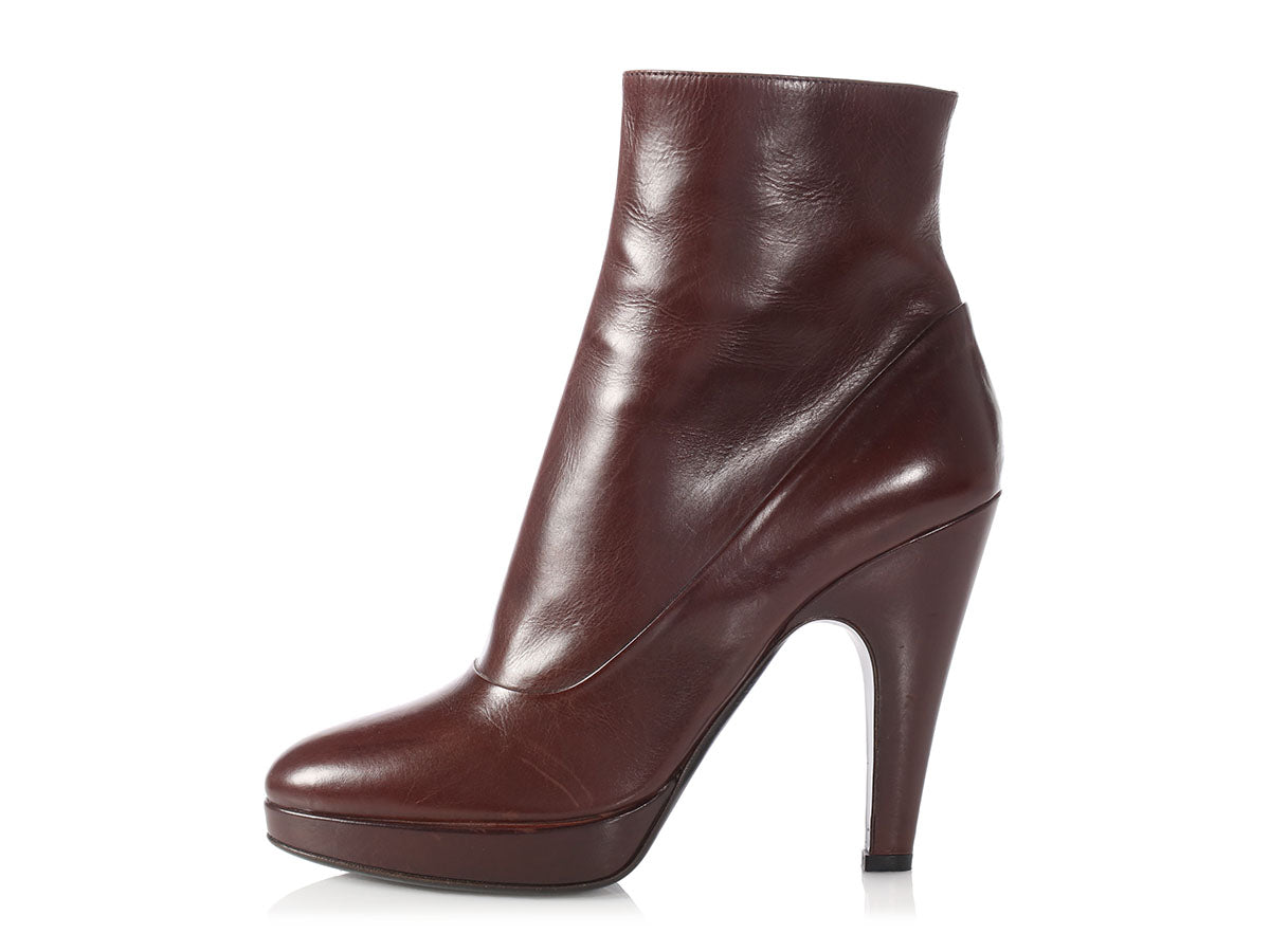 b31e424585 Prada Brown Leather Ankle Boots