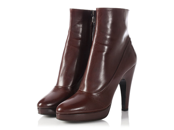 Prada Brown Leather Ankle Boots