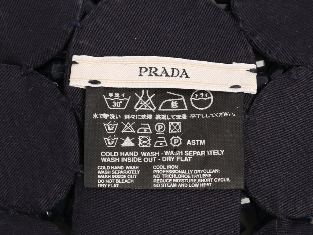 Prada Navy Drill Recamo Pietre Bib Necklace