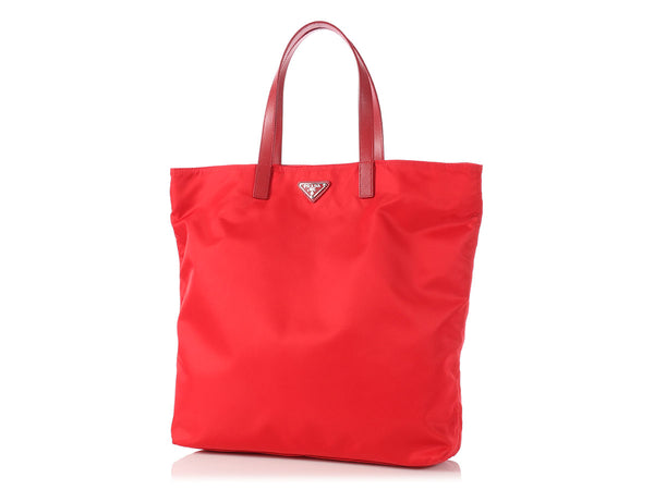 Prada Red Nylon Shopping Tote