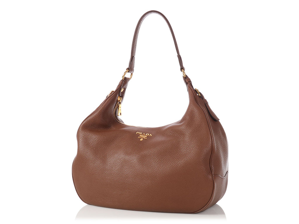 Prada Brown Vitello Daino Hobo