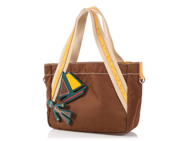 Prada Small Brown Nylon Sailboat Tote