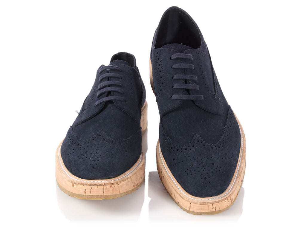 Prada Navy Suede and Cork Brogues