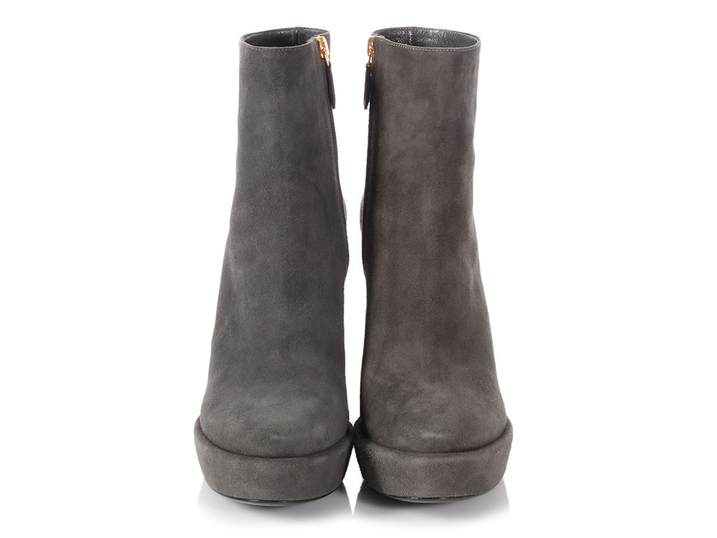 Prada Gray Suede Platform Ankle Boots