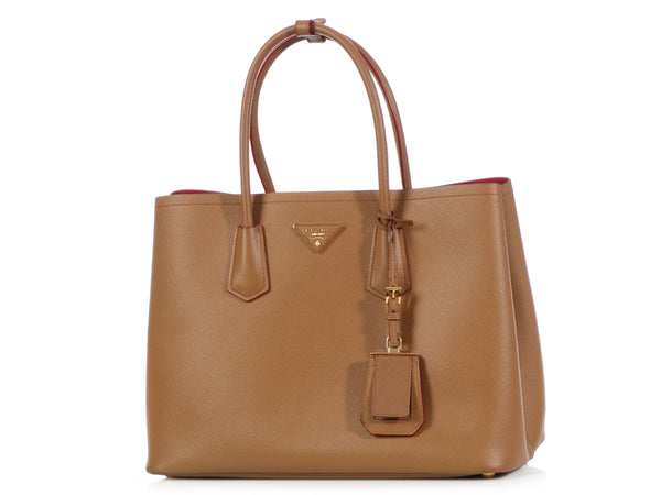 Prada Small Brown Saffiano Cuir Double Tote