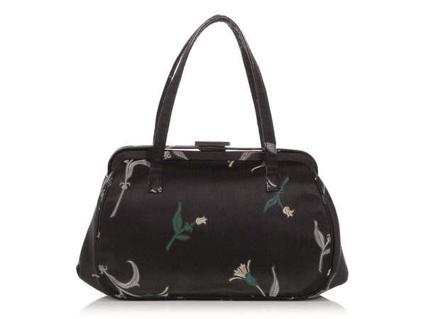Prada Black Floral Silk Doctor Bag