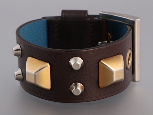 Prada Black Leather Stud Bracelet