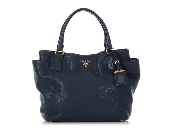 Prada Bluette Vitello Daino Side Pocket Tote