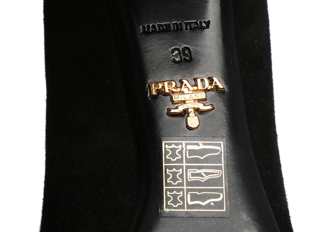 Prada Black Suede Block Heel Pumps