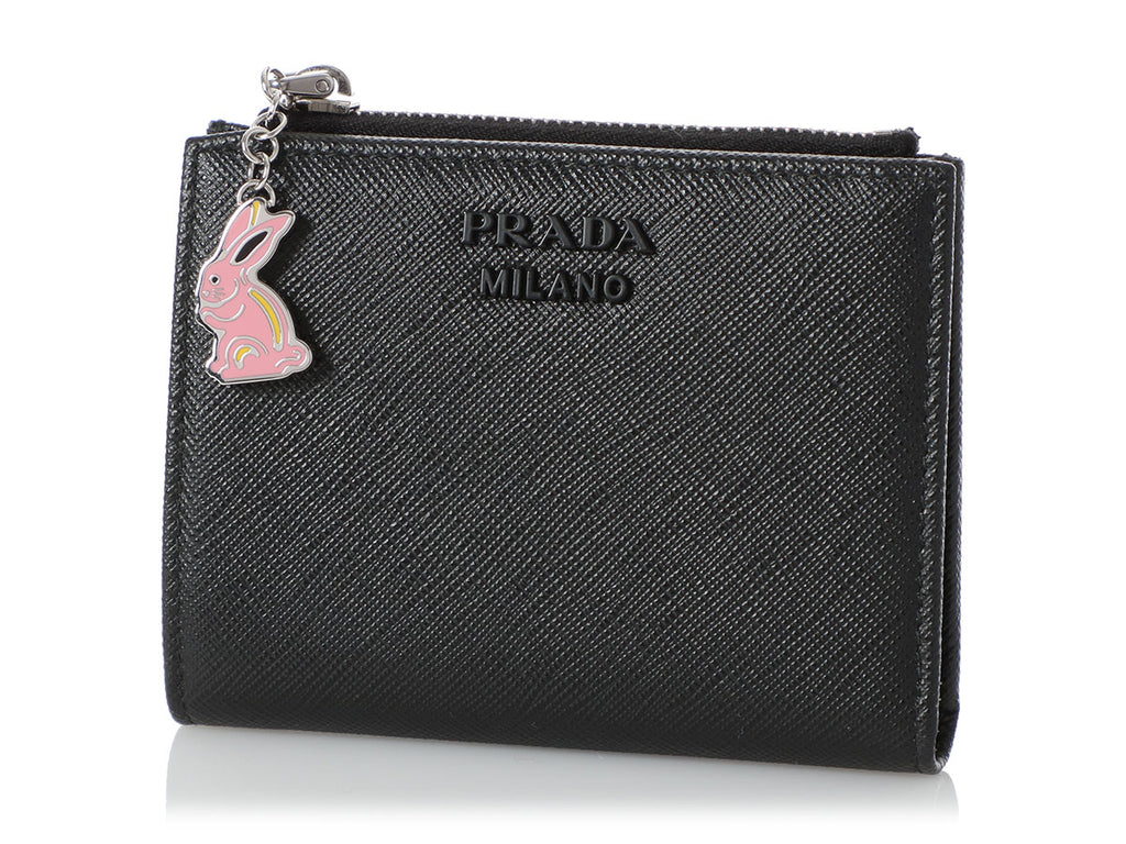 Prada Black Saffiano Wallet with Rabbit Charm