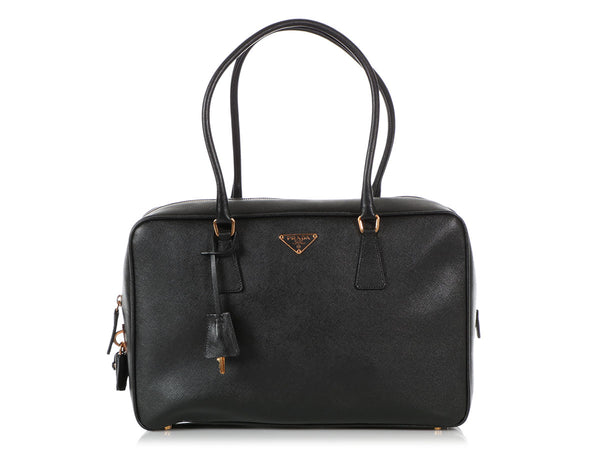 Prada Black Saffiano Bauletto Bag