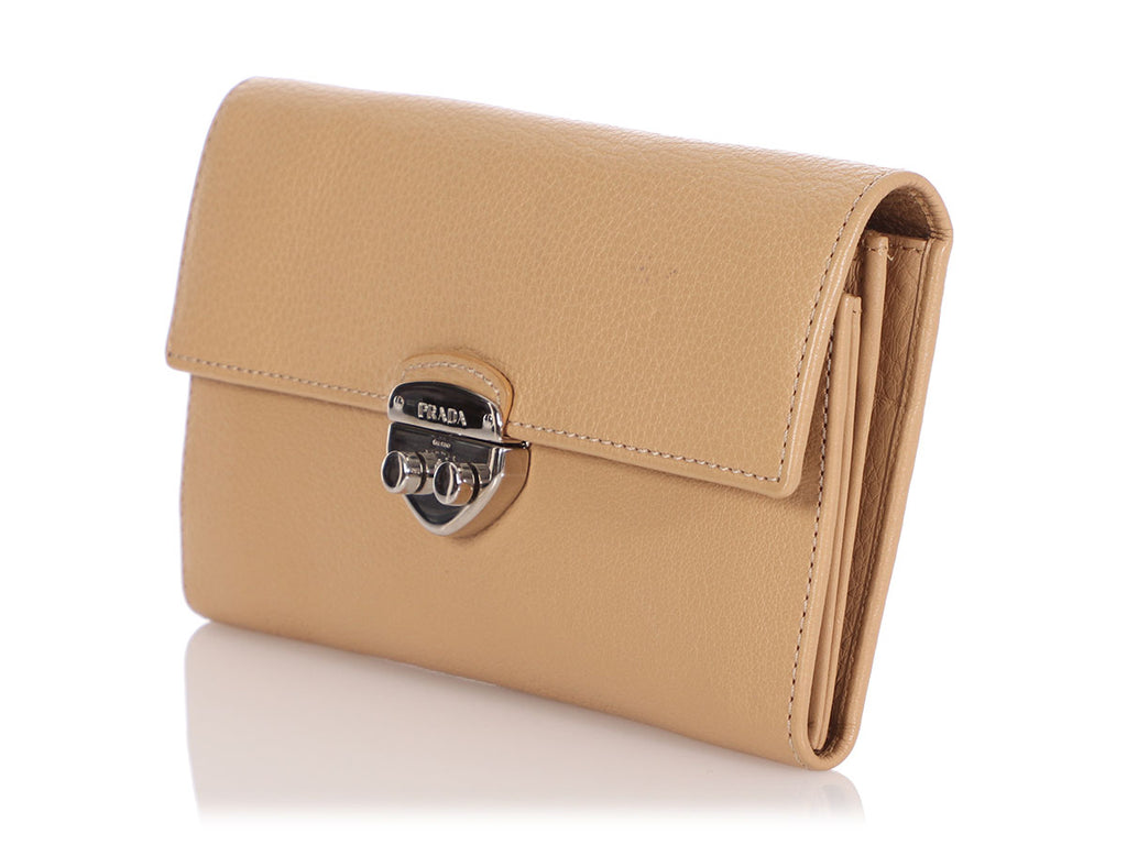 Prada Beige Leather Continental Wallet