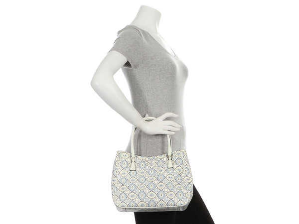 Prada Small Blue, Cream, and White Embossed Floral Tote