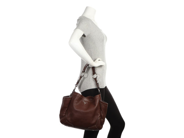 Prada Brown Vitello Daino Side Pocket Hobo