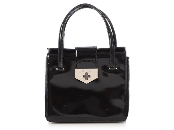 Prada Black Patent Turn Lock Bag