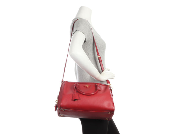 Prada Red Saffiano Lux Boston Bag