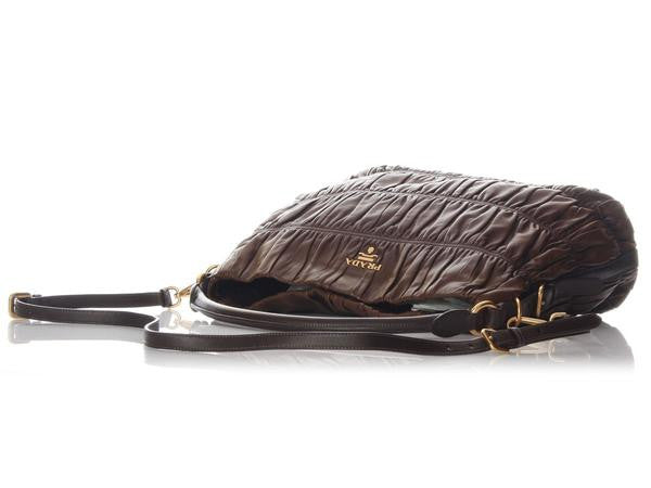 Prada Ruched Brown Leather Hobo