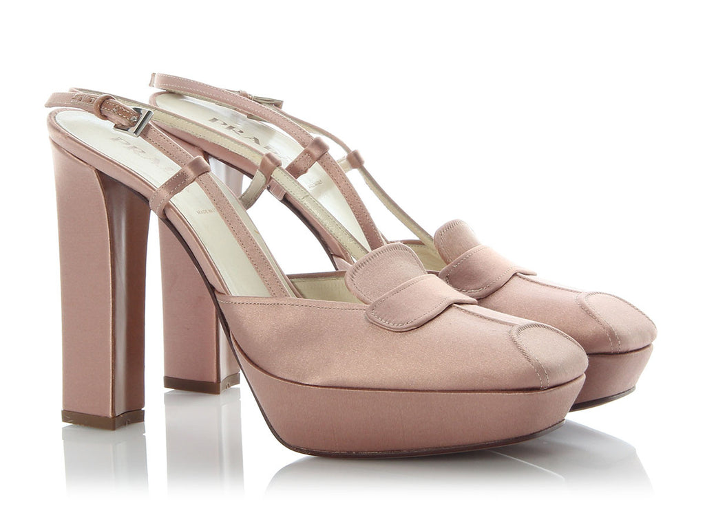 Prada Pale Pink Satin Slingbacks