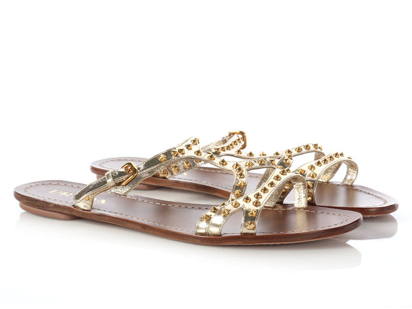Prada Gold Studded Flat Sandals