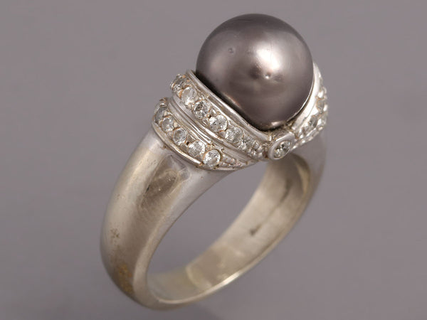 Gray Pearl Diamond 14K White Gold Ring