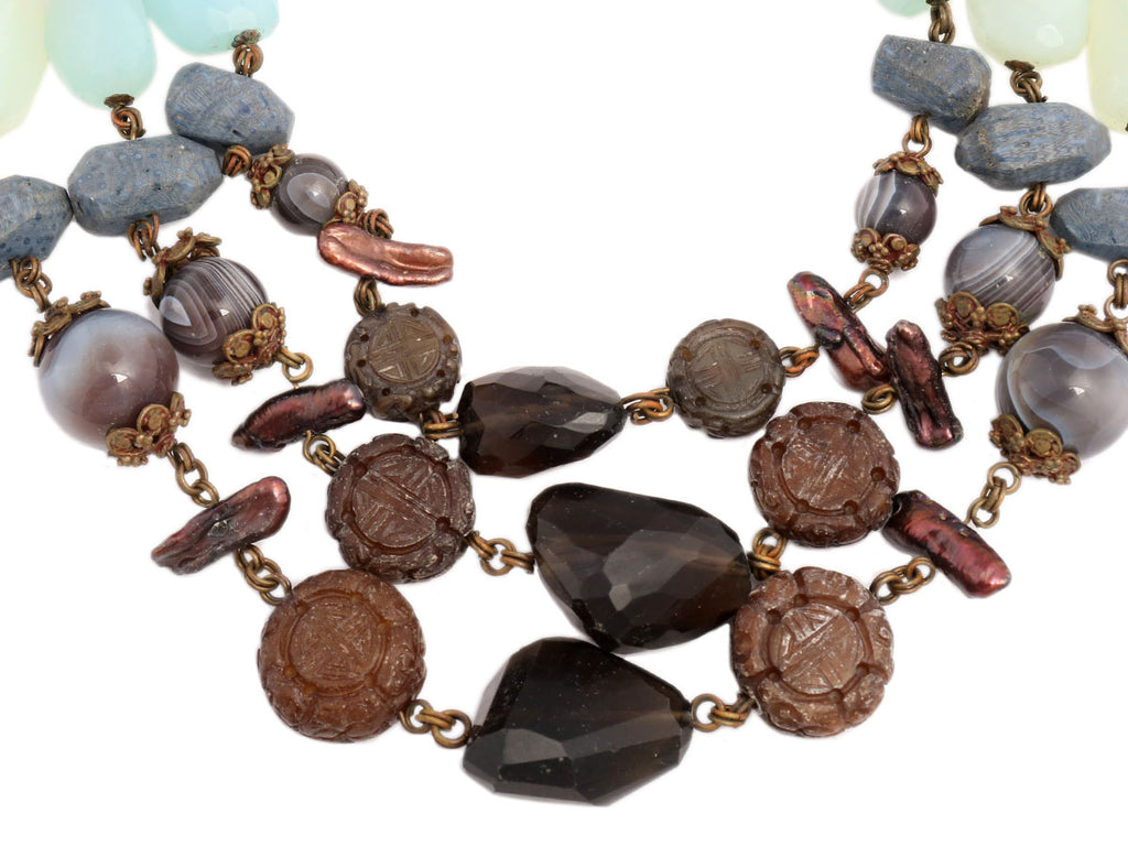 Stephen Dweck Bronze Triple Strand Necklace
